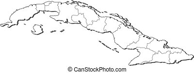 Map of Cuba - Political map of Cuba with the several...