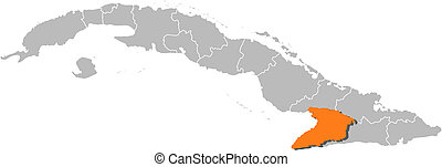Map of Cuba, Granma highlighted - Political map of Cuba with...