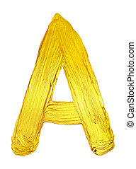 Golden letter A of  alphabet.