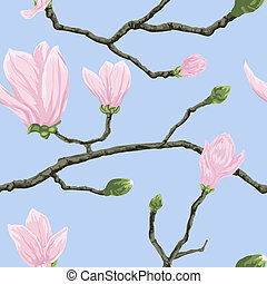 Seamless pattern with magnolia flowers - Seamless vector...