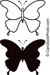 Butterfly, silhouette - Butterfly black silhouettes with...
