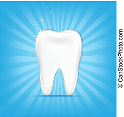 Tooth With Sunburst - Tooth, On Blue Background With Beams...