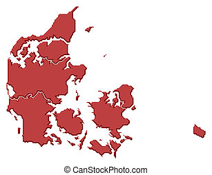 Map of Danmark - Political map of Danmark with the several...