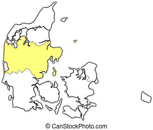 Map of Danmark, Central Denmark highlighted - Political map...