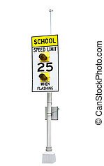 A School Speed limit sign with flashing lights isolated on...