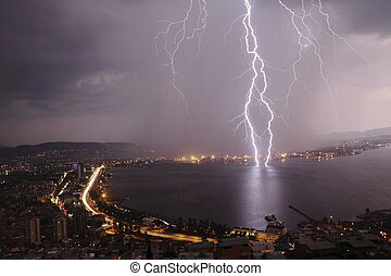 Thunders on city  - Thunders are on the city Izmir at night