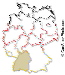 Map of Germany, Baden-Wuerttemberg highlighted - Political...