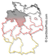 Map of Germany, Lower Saxony highlighted - Political map of...