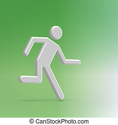 Man running to exit illustration - Silver metallic abstract...