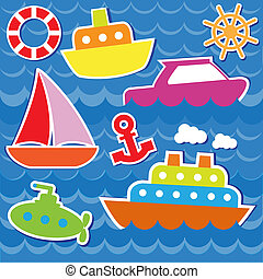 Marine transport stickers. Vector set