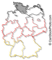 Map of Germany, Schleswig-Holstein highlighted