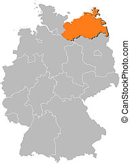 Map of Germany, Mecklenburg-Vorpommern highlighted -...