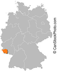 Map of Germany, Saarland highlighted - Political map of...
