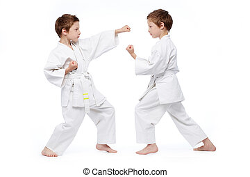 Ready to punch - Little twins in uniform practicing judo,...