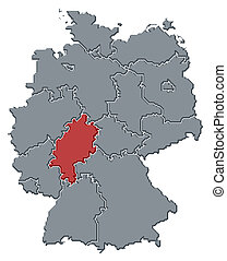 Map of Germany, Hesse highlighted