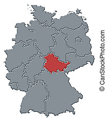 Map of Germany, Thuringia highlighted