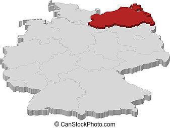 Map of Germany, Mecklenburg-Vorpommern highlighted -...