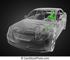 transparent car concept with driver made in 3D