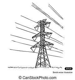 Power lines. Hand drawn vector isolated on white