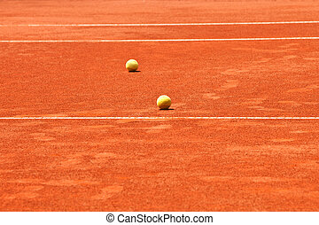 slag tennis court and balls - slag tennis court with white...