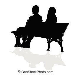 couple sitting on a bench vector silhouette