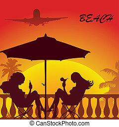beach-23 - tropical palm beach two girl sitting under...