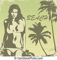 beach-24 - tropical palm beach and girl