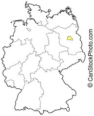 Map of Germany, Berlin highlighted - Political map of...