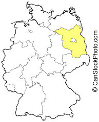 Map of Germany, Brandenburg highlighted - Political map of...