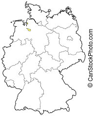 Map of Germany, Bremen highlighted - Political map of...