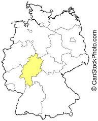 Map of Germany, Hesse highlighted - Political map of Germany...