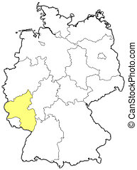 Map of Germany, Rhineland-Palatinate highlighted - Political...