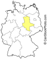 Map of Germany, Saxony-Anhalt highlighted - Political map of...