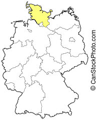 Map of Germany, Schleswig-Holstein highlighted - Political...