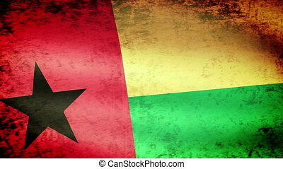 Guinea-Bissau Flag Waving, grunge look