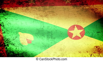 Grenada Flag Waving, grunge look