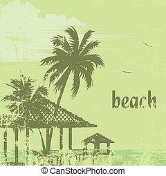 beach 27 - grunge tropic beach palms and pier