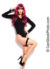 red wig - attractive young woman in black body wearing long...