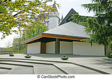 Exterior of modern european church with contemporary architecture