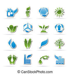 environment and nature icons - vector icon set