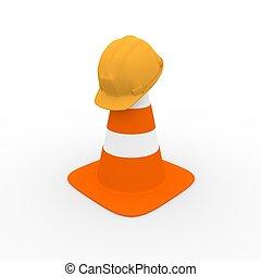 digital render of a safety helmet on a traffic cone