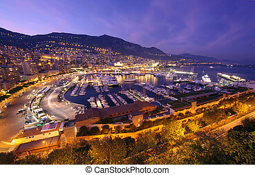 Monte Carlo harbor - night scene of Monte Carlo harbor in...