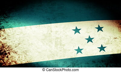 Honduras Flag Waving, grunge look