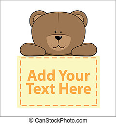 Cute Banner Bear - Cute bear with banner below it