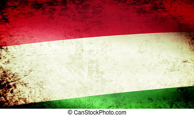 Hungary Flag Waving, grunge look