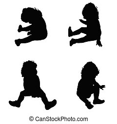 baby in a sitting position vector silhouette