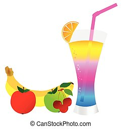 cocktail with fruit illustration art vector on white
