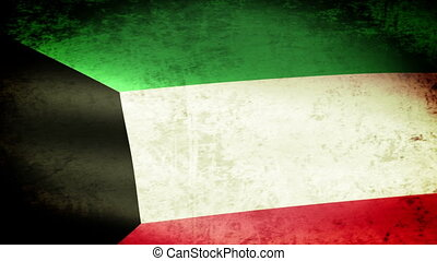 Kuwait Flag Waving, grunge look