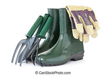 橡膠, 工具, 花園, 靴子