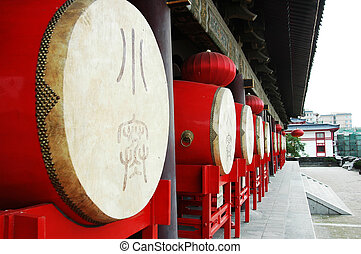 Chinese drums - Row of Chinese traditional drums at the Drum...